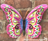 Set of 2 large 35cm Bright Pastel coloured metal Butterfly wall art decorations, one Pink multi & one Blue multi