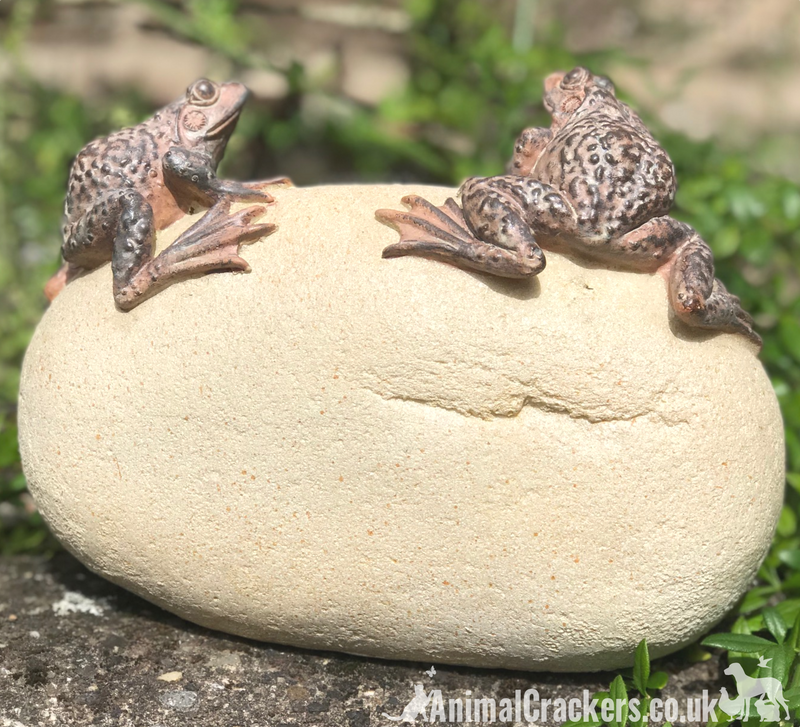 'WELCOME TO OUR GARDEN' stone effect garden or pond ornament, Frog lover gift