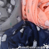 Ewe print ladies lightweight cotton mix Scarf Sarong in choice of colours