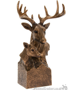 Leonardo Bronzed Reflections Stag & Deer heads ornament decoration, gift boxed