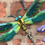 Set of 4 coloured metal 29cm Dragonflies wall art decorations Dragonfly lover gift