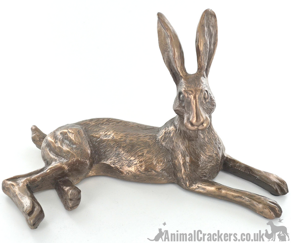 'Bluebell Hare' Cold Cast Bronze ornament sculpture by Harriet Glen