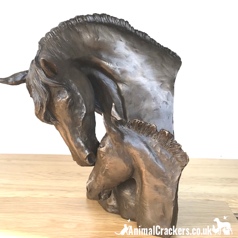 Cold cast bronze Mare & Foal Heads sculpture by David Geenty, fabulous Horse or Pony lover gift, a real statement piece