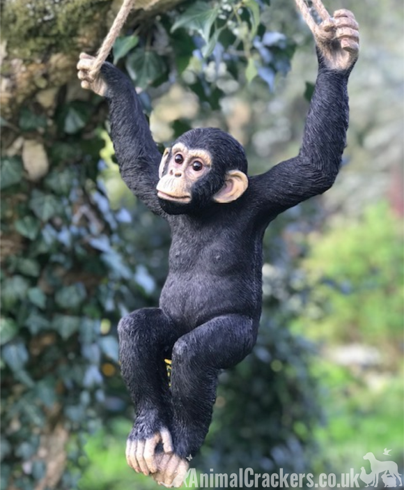 44cm rope swinging Climbing Monkey garden ornament decoration chimp lover gift