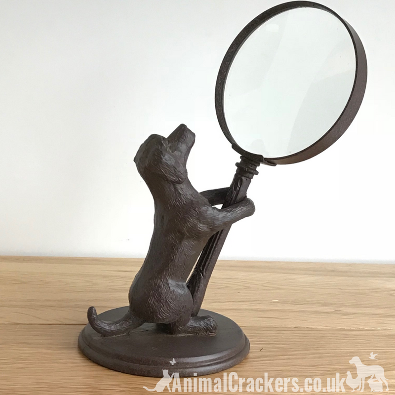 Bronze Effect Dog Holding Magnifying Glass Ornament Sculpture Dog Love