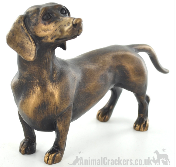 18cm Bronze effect Dachshund ornament figurine, Sausage Dog lover gift
