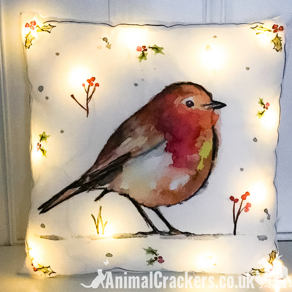 LED light up Winter Robin 40cm Cushion with inner, Christmas festive decoration