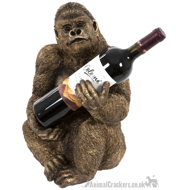 Bronze effect Gorilla Wine Bottle Holder ornament decoration, monkey lover gift