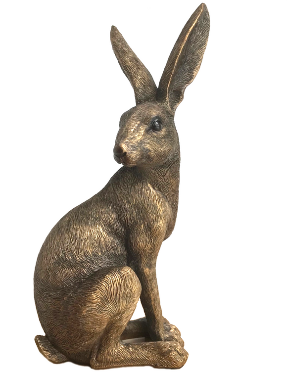 Large 22cm high Bronze effect Sitting Hare ornament figurine, in quality gold gift box, great Easter gift!