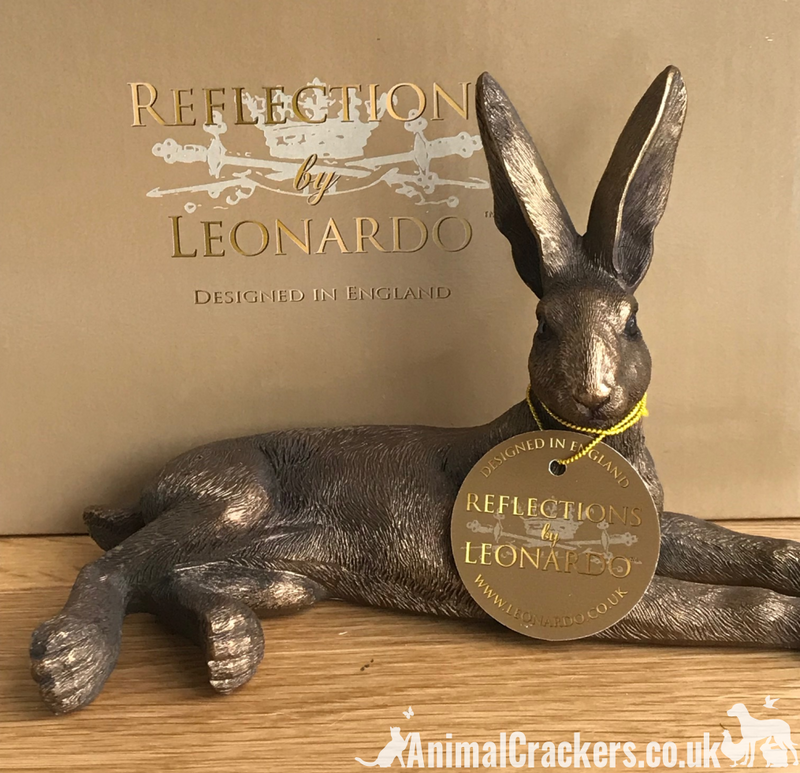 Leonardo Reflections Bronzed range Laying Hare ornament figurine, Gift boxed