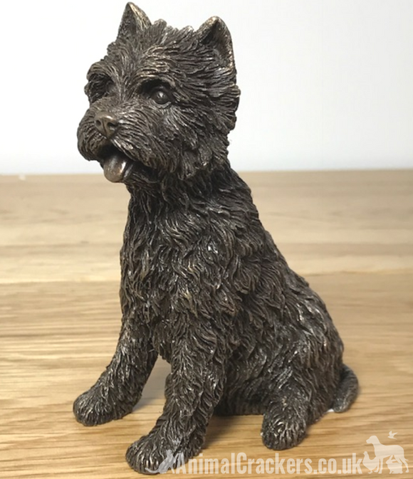 Sitting Bronze Westie West Highland Terrier sculpture ornament figurine, boxed