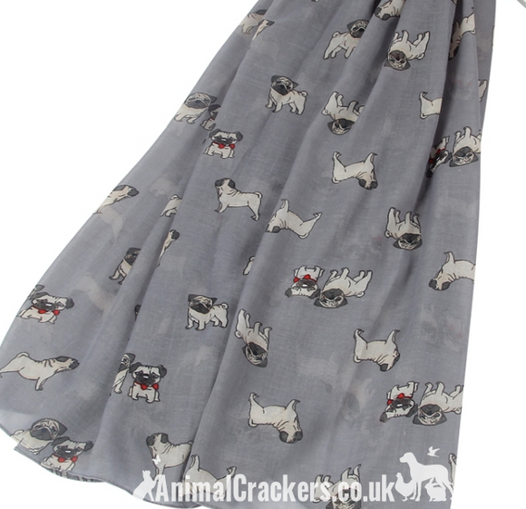 Ladies Pug Dog print lightweight cotton mix scarf sarong in choice of colours