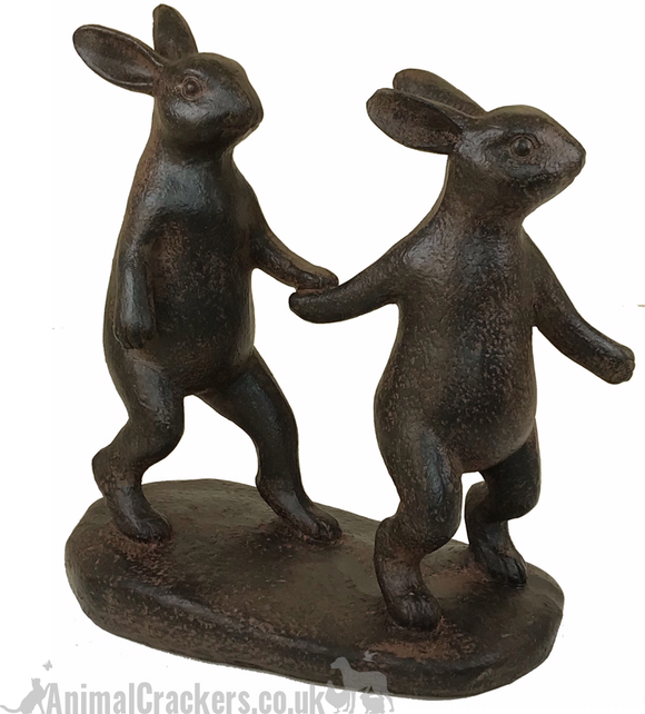 Rabbits Holding Hands ornament sculpture bronze effect hare or bunny lover gift