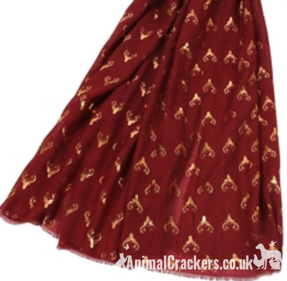Stag Deer gold foil print ladies lightweight Scarf Sarong in choice of colours