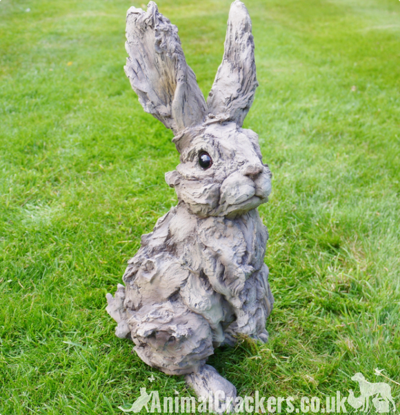 Large wood effect Rabbit bunny lover gift garden ornament decoration sculpture