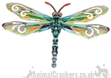 Set of 6 Pastel coloured metal 17cm Dragonflies wall art decorations