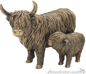 Large (26cm) Highland Cow Mother & Calf ornament figurine from the Leonardo Bronzed Reflections range, gift boxed