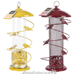 SET OF 2! Large all metal HEAVY DUTY wild bird SEED & NUT Feeders with decorative birds