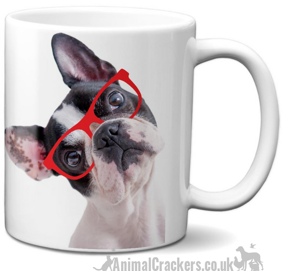 French Bulldog in Red Glasses quality ceramic Mug, novelty Frenchie lover gift
