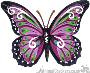 Large 35cm dark Pink/Lilac & multi colour metal Butterfly ornament wall art decoration