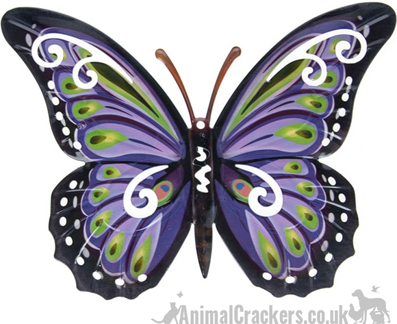 Large 35cm Purple & multi colour metal Butterfly ornament wall art decoration