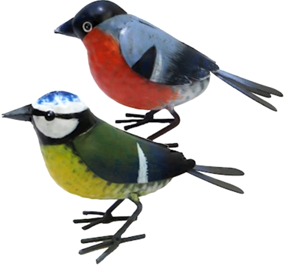 SET OF 2 larger than life (16cm) quirky hand painted metal garden bird ornaments (BLUE TIT + BULLFINCH), great bird lover gift