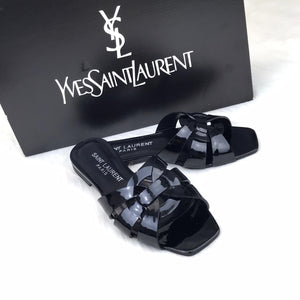 Tribute Flat Sandals Black Patent Leather