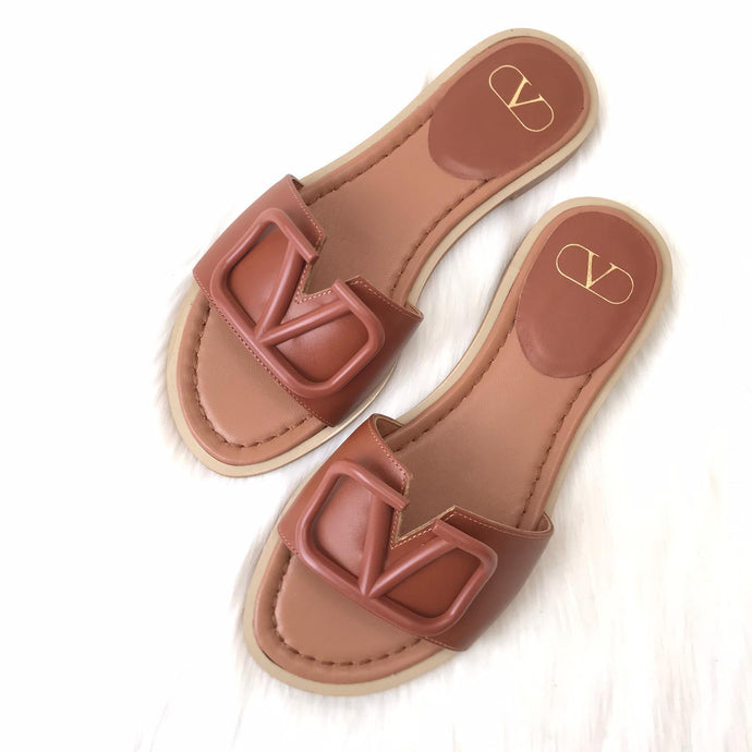 V logo Flat Slide Sandals Brown