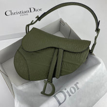 Load image into Gallery viewer, Christian Dior Saddle Embossed Calfskin Bag Green