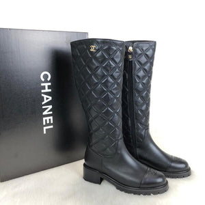 Chanel Quilted Lambskin High Boots