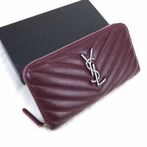 YSL Zippy Wallet Claret Red