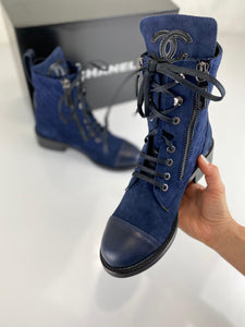 Chanel Quilted Lace-Up Suede Boots Women