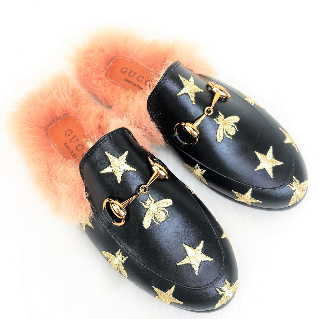 GC Princetown Leather Slippers Stars