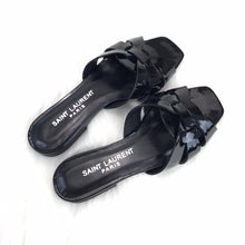 Load image into Gallery viewer, Tribute Flat Sandals Black Patent Leather