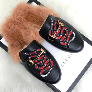 GC Princetown Leather Slippers Snake