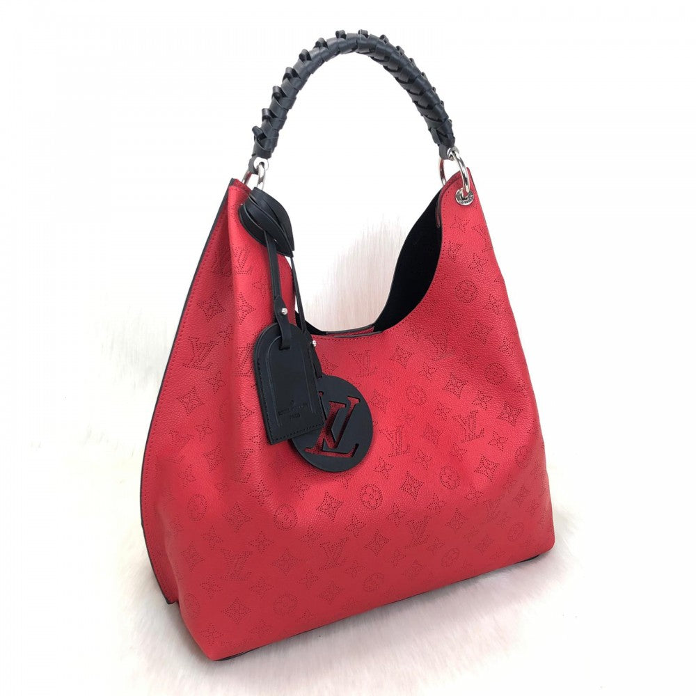 Mahina Leather Carmel Hobo Bag Red