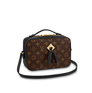 Saintonge Monogram Canvas Cross Body Black Leather