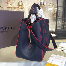 Load image into Gallery viewer, Montaigne MM Tote Bag Monogram Empreinte Leather Navy Blue