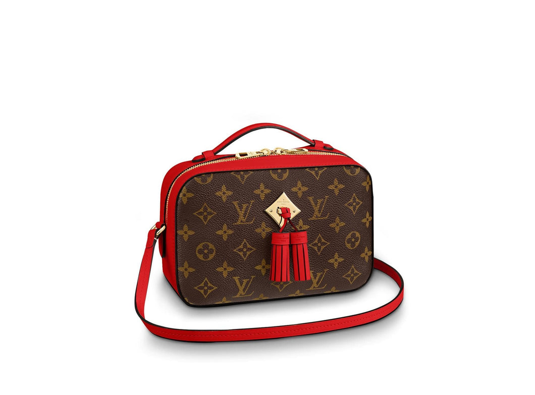 Saintonge Monogram Canvas Cross Body Red Leather