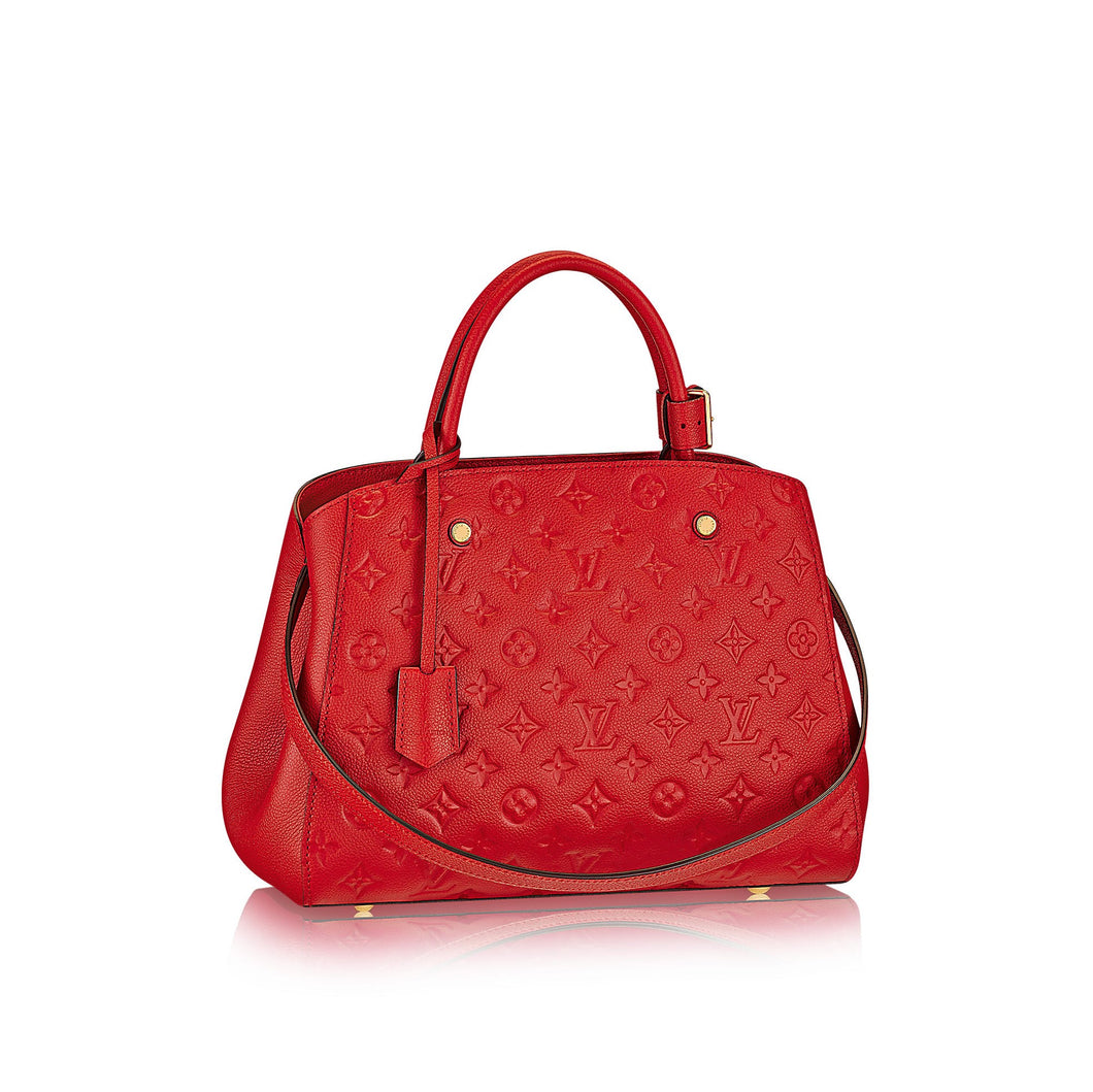 Montaigne MM Tote Bag Monogram Empreinte Leather Red