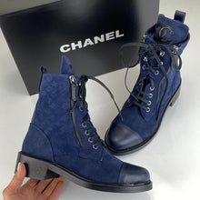 Load image into Gallery viewer, Chanel Quilted Lace-Up Suede Boots Women