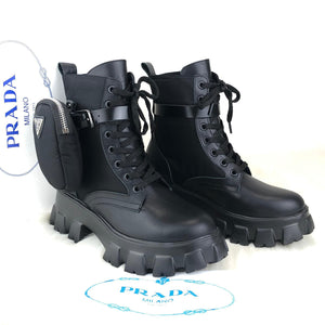 Prada Ankle Pouch Combat Boots Women