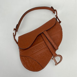 Christian Dior Saddle Embossed Calfskin Bag Brown