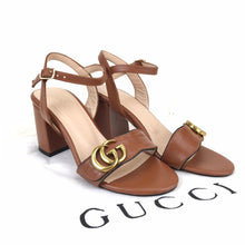 Load image into Gallery viewer, Mid-Heel  GG Sandals Brown