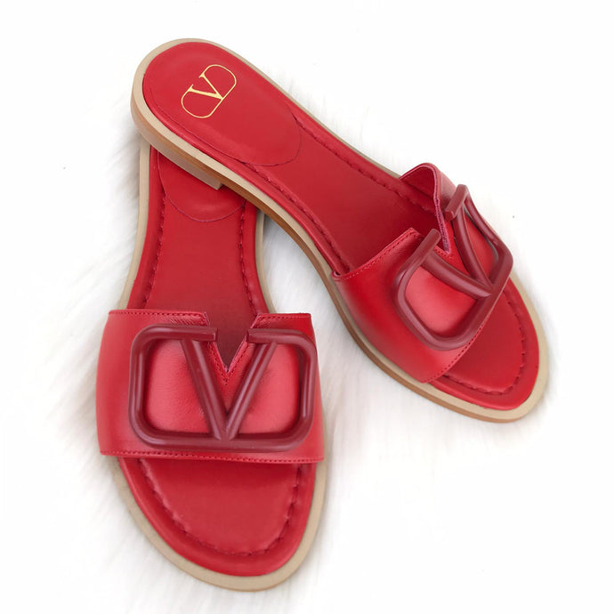 V logo Flat Slide Sandals Red