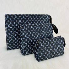 Load image into Gallery viewer, Toiletry Pouch Set Monogram Leather Eclipse