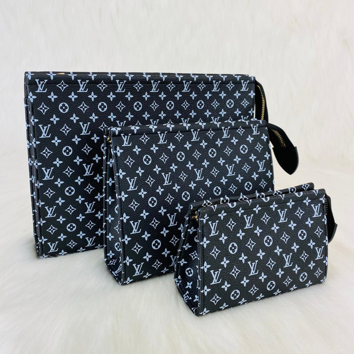 Toiletry Pouch Set Monogram Leather Eclipse