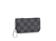 Load image into Gallery viewer, Key Pouch Damier Graphite Canvas
