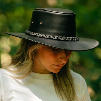 Ladies Vagabond Leather Hat - Jet Black