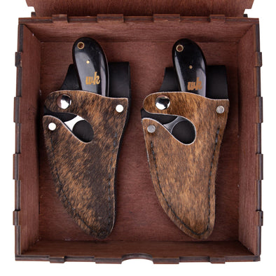 Brindle Hide Father & Son Set (Optional Box) - 7 Inch